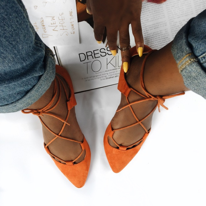 Dress to kill, lace up, orange shoe, style