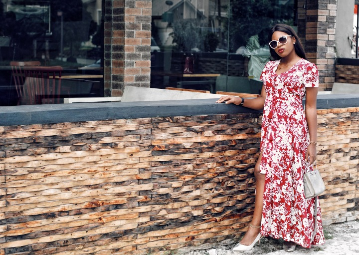 SheIn burgundy floral self tie split dress, maxi dress, how to style a maxi dress, SheIn, affordable fashion, fall colors