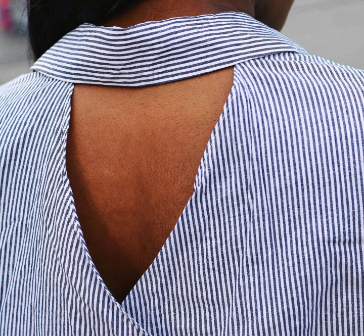 Cut out back shirt, stripped shirt, Payless, stripped button down shirt, how to style a dress shirt, how to style a button down shirt, how to look trendy in a shirt